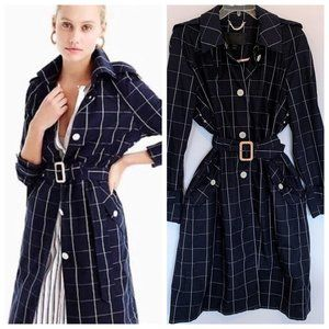 J. Crew Collection Navy Windowpane Trench - 14